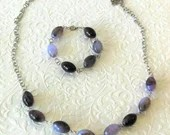 Purple Marbled Oval Bead Necklace and Bracelet Jewelry Set