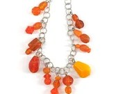 Orange Beaded Charm Bracelet / Orange Jewelry / Summer Jewelry / Gifts for Her / Gifts for Mom / Gifts Under 20 / Fun Jewelry / Unique Gifts