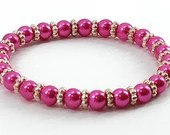 Hot Pink Pearl Bead Stretch Bracelet