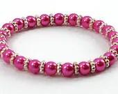 Hot Pink Pearl Bead Stretch Bracelet