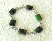Green Flat Bead Bracelet,...