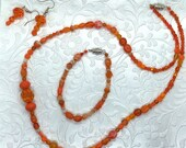 Orange Beaded Necklace and Bracelet Jewelry Set