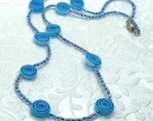 Blue Swirl Glass Beaded Necklace, Gifts for Her, Gifts for Mom, Unique Gifts