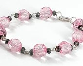 Pink and Black Beaded Bracelet