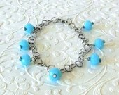 Blue Orb Charm Bracelet / Blue Jewelry / Summer Jewelry / Dangle Bracelets / Gifts Under 20 / Gifts for Mom / Gifts for Her