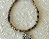 Owl Charm Delicate Brown Beaded Bracelet
