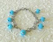Blue Orb Glass Bead Charm Bracelet