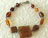 Squared Amber Brown Glass Beaded Bracelet