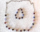 Purple Marble Round Bead Necklace and Bracelet Jewelry Set
