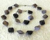 Purple Marbled Diamond Beaded Necklace and Bracelet Jewelry Set
