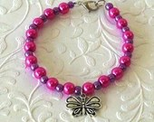 Butterfly Pink and Purple Pearl Beaded Charm Bracelet