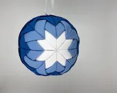 Blue and White Fabric Christmas Holiday Ornament