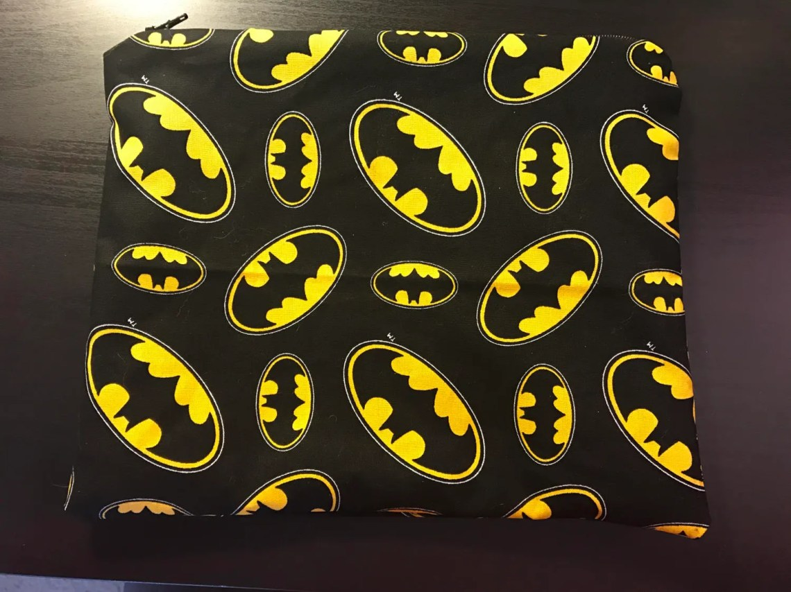 Flannel Lined Zipper Pouch - Black and Yellow Batman Pattern - 8x10