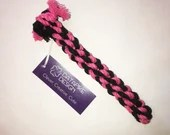 Small Dog Chew and Tug Cotton Rope Toy, Pink and Black