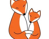 Mother Fox and Baby Fox Hugs Art Print