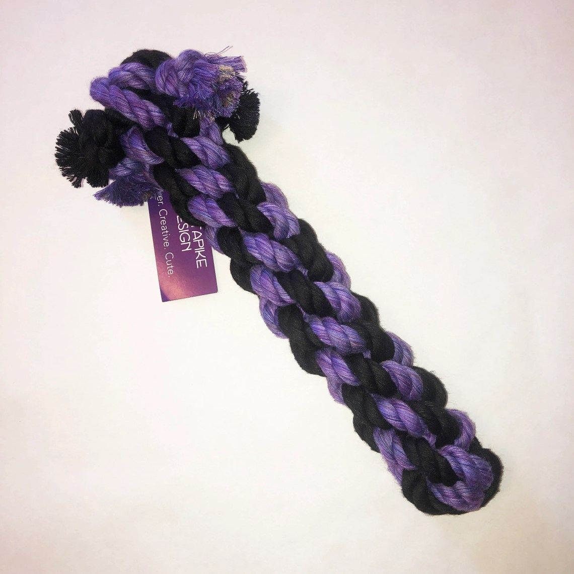 Large Dog Chew and Tug Cotton Rope Toy, Purple and Black
