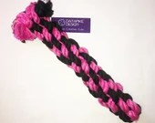 Large Dog Chew and Tug Cotton Rope Toy, Pink and Black