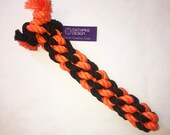 Large Dog Chew and Tug Cotton Rope Toy, Orange and Black