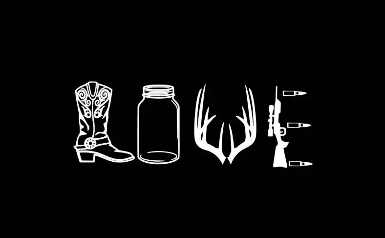 Download Hunting Country LOVE decal boots deer antlers rifle mason ...