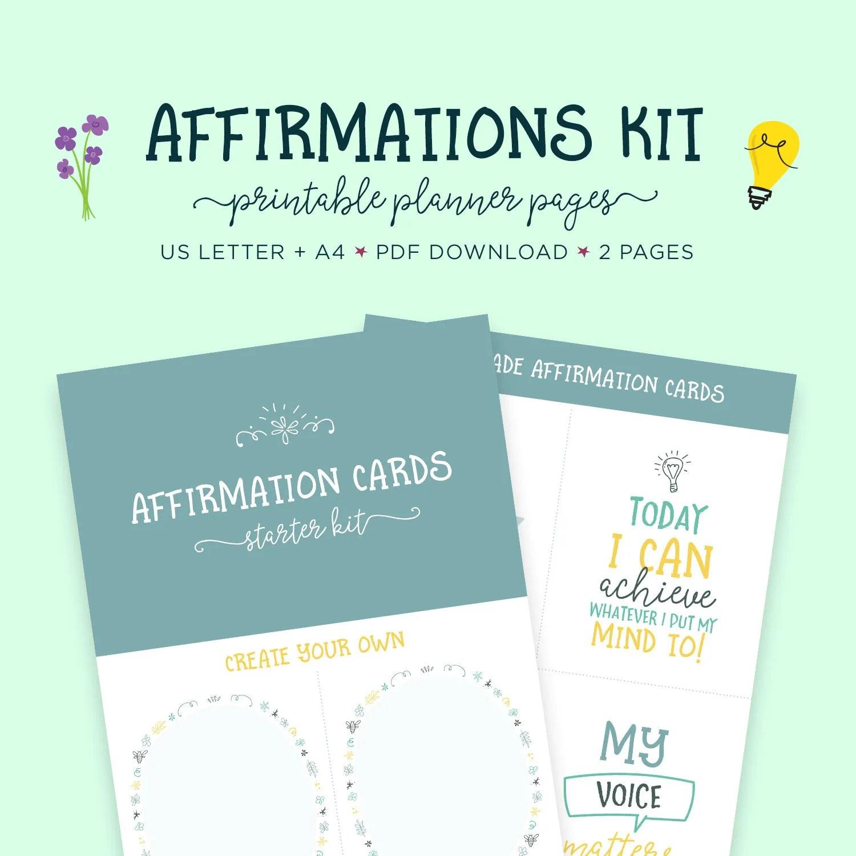 Affirmations Self Help Affirmation Cards Printable