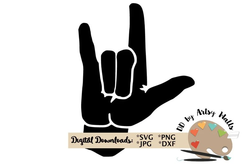 Download SVG PNG Jpg file I love you sign language clipart cut file ...