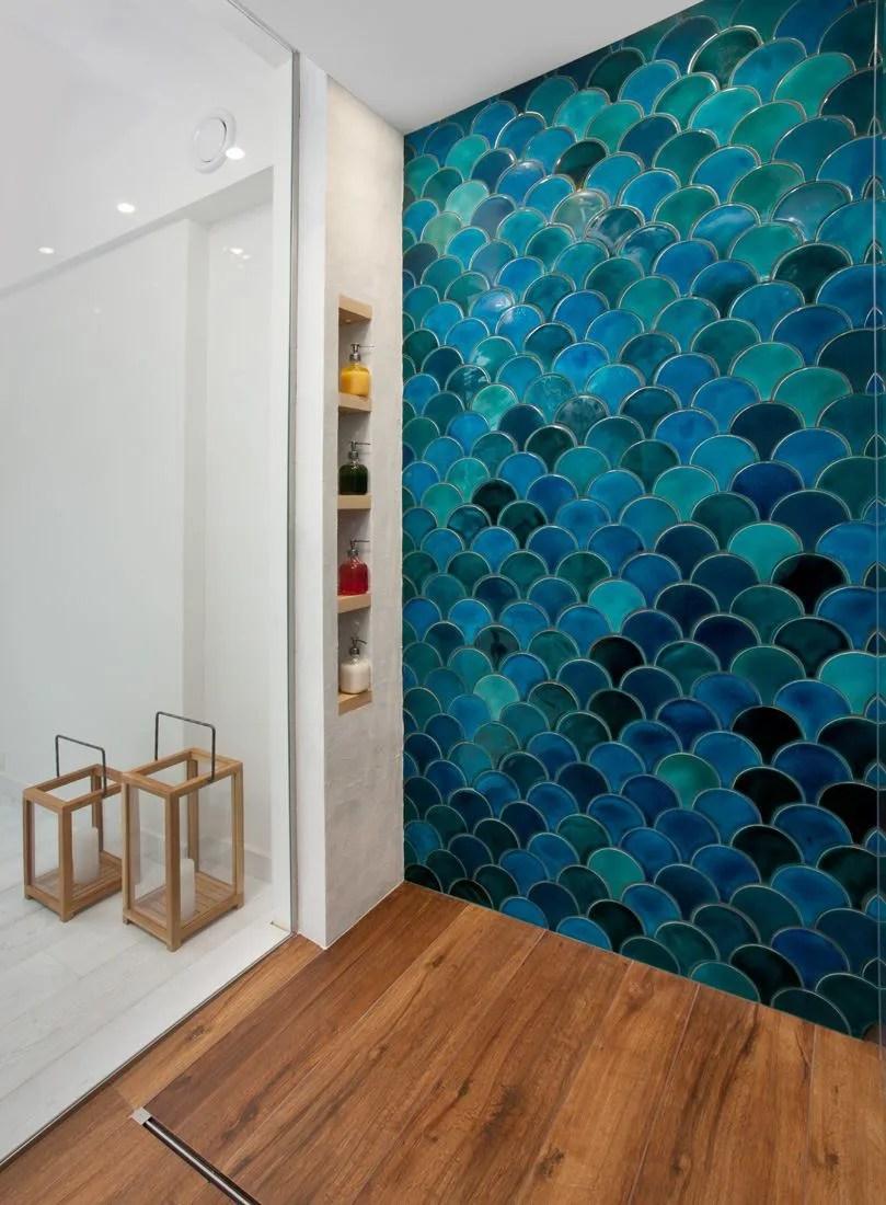 handmade ceramic mosaic tiles morocco fish scale dark mix etsy