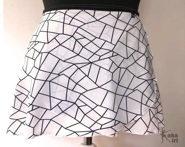 Ballet wrap skirt Tangram, white with geometric print