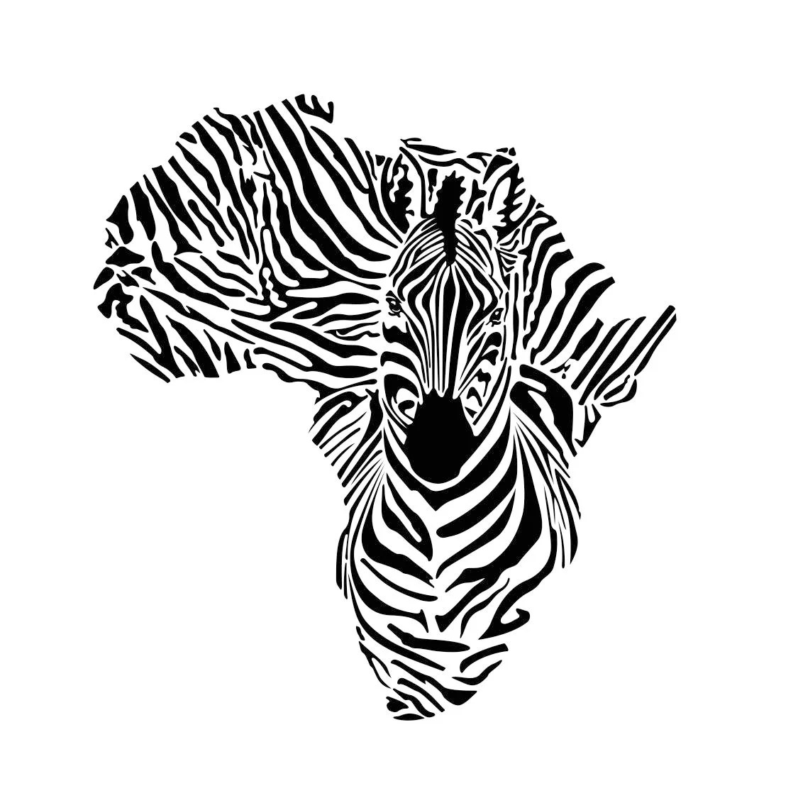 Africa Zebra Continent Graphics Svg Dxf Eps Cdr Ai