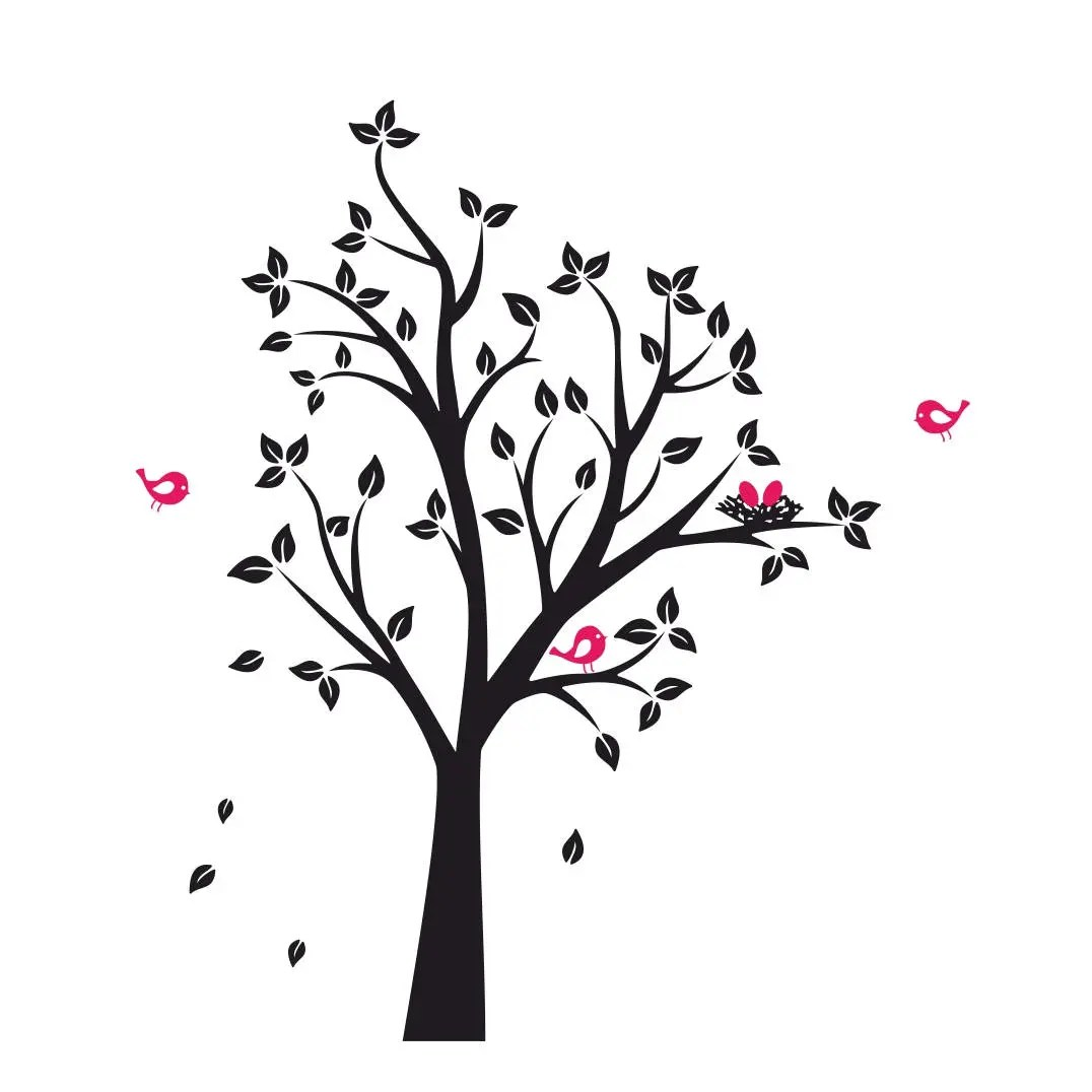 Tree Birds Nest Graphics Svg Dxf Eps Cdr Ai Vector