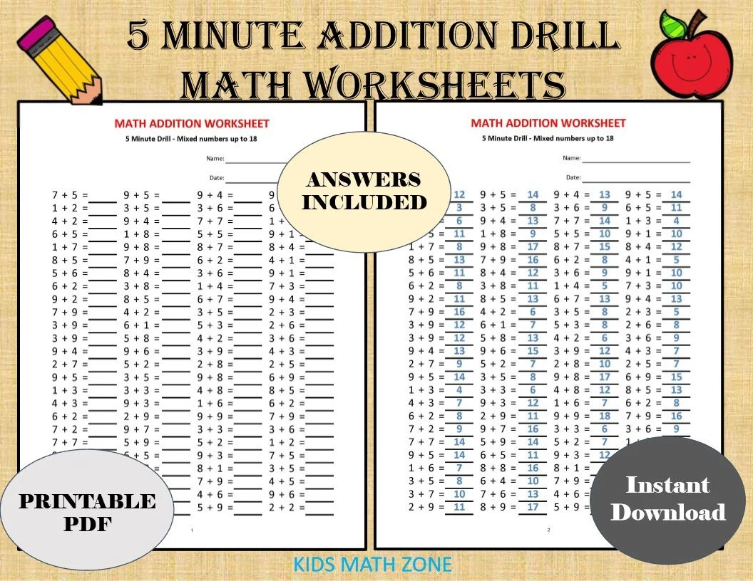 Addition 5 Minute Drill H 10 Math Worksheets With