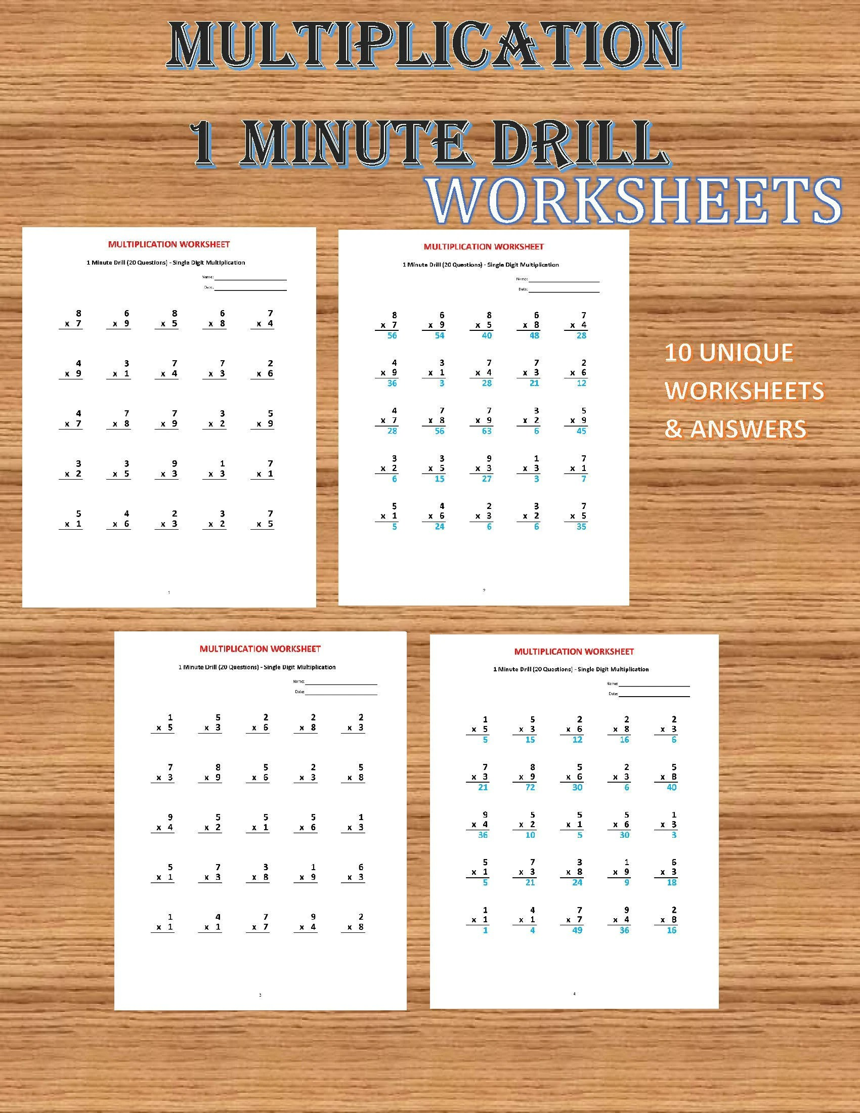Multiplication 1 Minute Drill V 10 Math Worksheets With