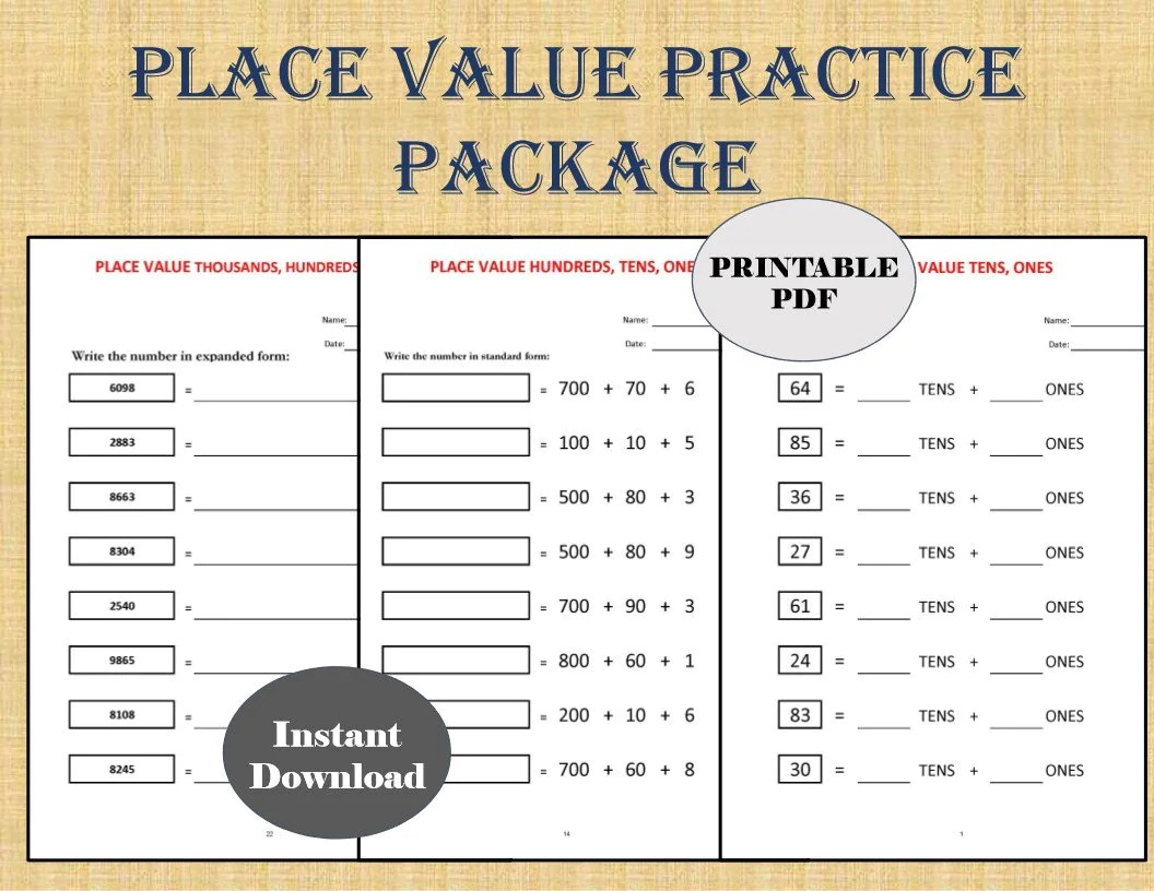 Place Value Worksheets 32 Worksheets Year 1 2 3