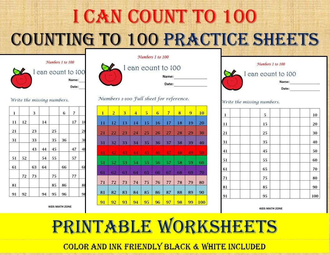 Missing Numbers 1 To 100 10 Printable Worksheets