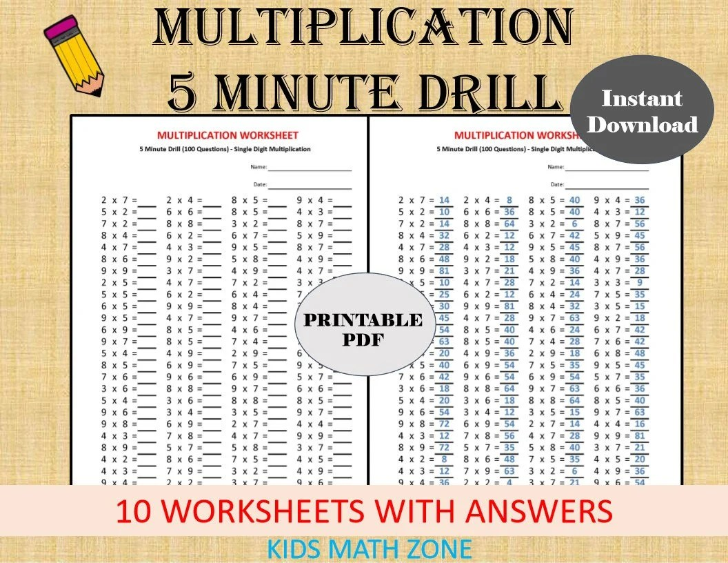 Multiplication 5 Minute Drill Worksheets With Answers