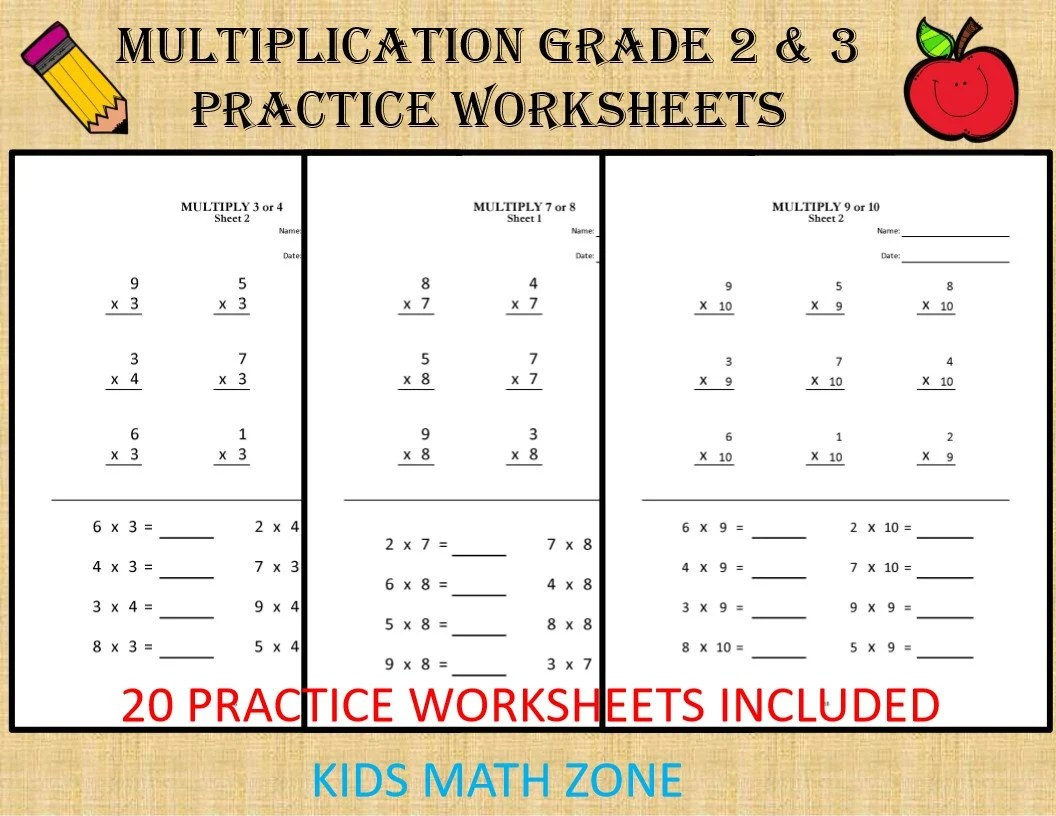 Multiplication Worksheets For Grade 2 Amp 3 20 Sheets
