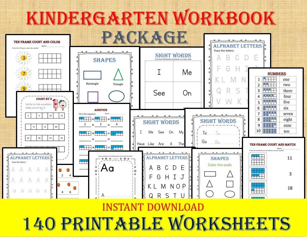 Kindergarten Workbook 140 Worksheets Instant Download