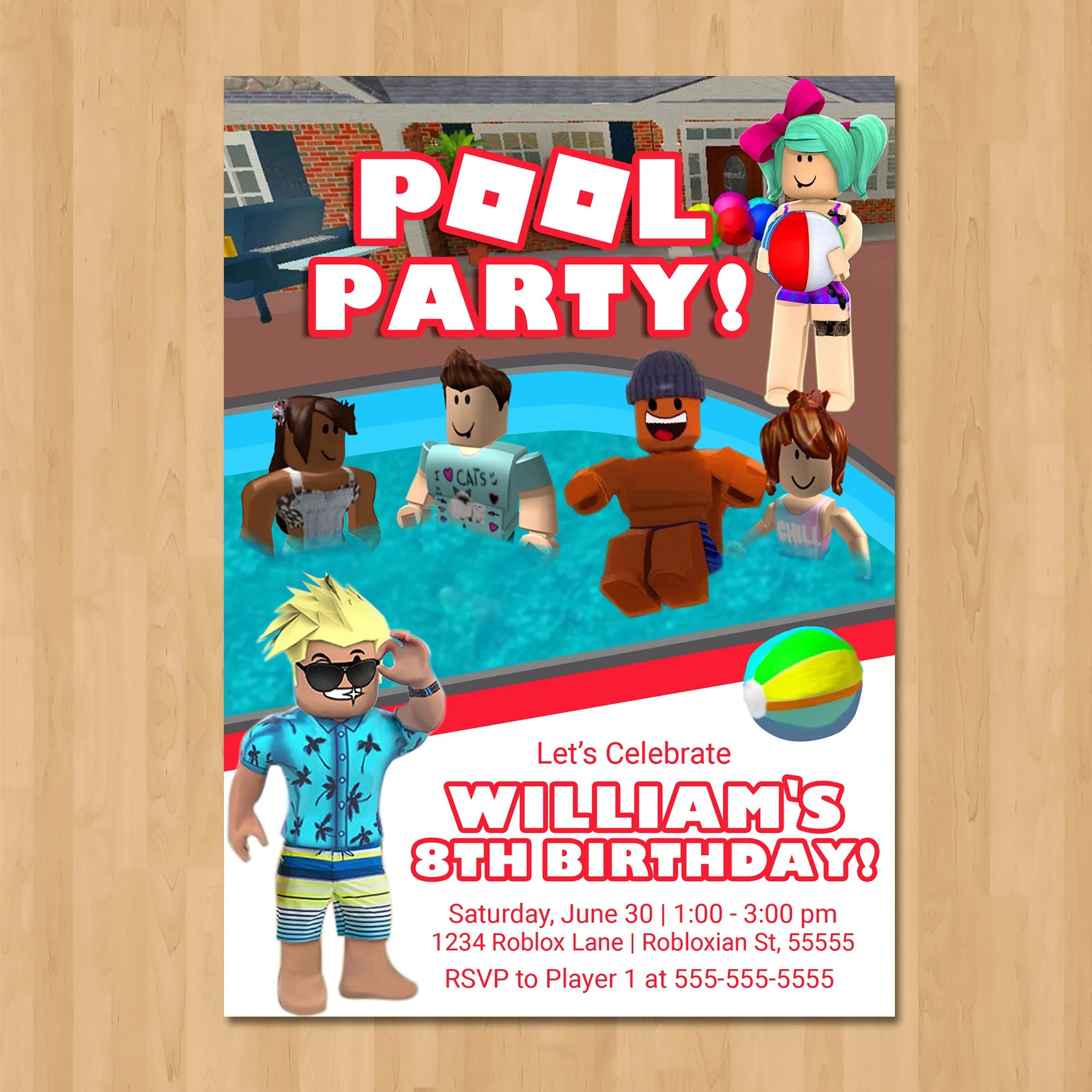 roblox pool party invitation pool party roblox birthday party invite roblox party favor roblox birthday party printables 100973