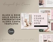 Blush and Rose Gold Google Presentation Course Slides for Course Creators - 60 Slides - DIY Course Presentation Slides