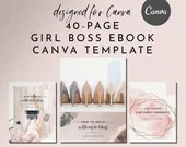 eBook & Workbook Canva Template Design - Girl Boss - Plus Bonus 10 Pinterest and 10 Instagram Matching Canva Templates
