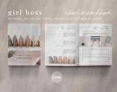 eBook & Workbook Canva Template Design - Girl Boss - Plus Bonus 10 Pinterest and 10 Instagram Matching Canva Templates