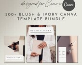 500+ Canva Templates Workbook eBook Rose Gold Blush Ivory Set