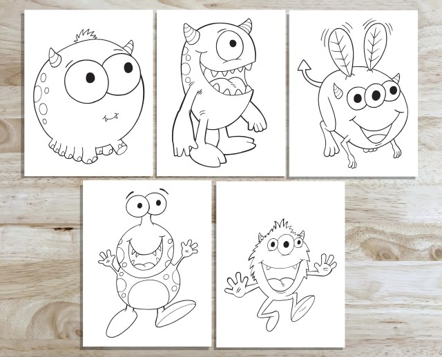 Cute Monster Coloring Page Set! Downloadable PDF files!