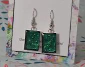Emerald green glitter rec...