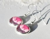 Pink Leaf Round Drop Earring, dangle earring, earrings for women, colorful jewelry, minimalist earring, gift for her, mother's day, floral