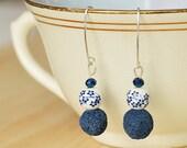 Glass Bead Sterling Silver Hook Earring, drop earrings, semi-precious jewelry, gift for women, colorful jewelry, minimalist jewelry
