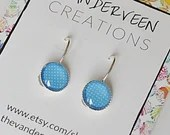 Light Blue Polka Dot Round Leverback earrings, earrings for women, jewelry for women, gift for women, colorful jewelry, minimalist jewelry