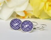 Navy Blue Geometric Round Leverback earrings, earrings for women, jewelry for women, gift for women, colorful jewelry, minimalist jewelry