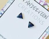 Royal Blue Glitter Triangle Stud Earrings, jewelry for women, earrings for women, colorful jewelry, minimalist jewelry, triangle earrings