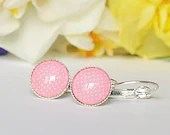 Light pink polka dot round leverback earrings, earrings for women, jewelry for women, gift for women, colorful jewelry, minimalist jewelry