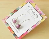 Pink Czech Bead Sterling Silver Hook Earring, drop earrings, semi-precious jewelry, gift for women, colorful jewelry, minimalist jewelry